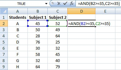 Formula of AND function in Excel
