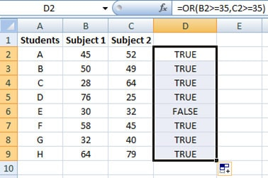 Using OR function in Excel