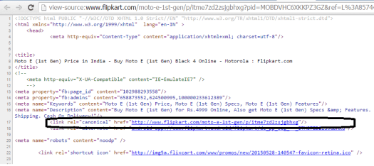 canonical tagging by flipkart