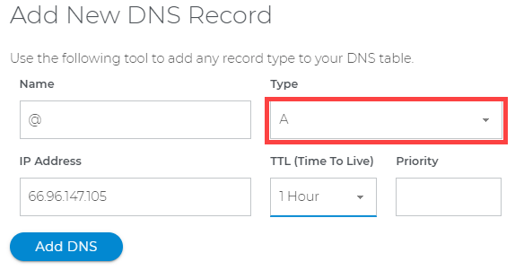 Connect Domain.com with Shopify - Select the DNS Record Type