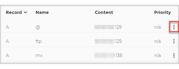 Connect Domain.com with Wix - Click on the 3 dots on the side