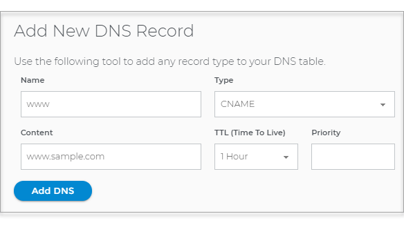 Redirecting Domain.com with Shopify - Add new DNS record window