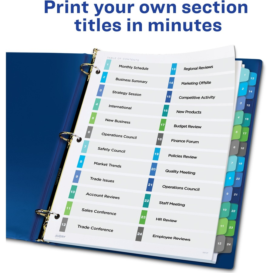 Avery Ready Index R 24 Tab Double Column Dividers