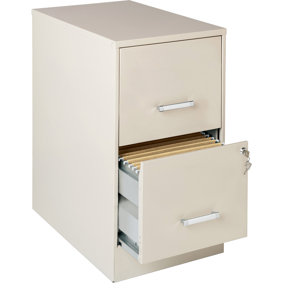 Lorell Soho 22 2 Drawer File Cabinet 14 3 X 22 X 26 7 2 X Drawer S For File Locking Drawer Pull Handle Glide Suspension Stone Chrome