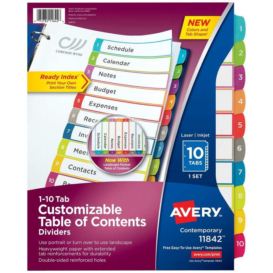 Avery Ready Index Binder Dividers