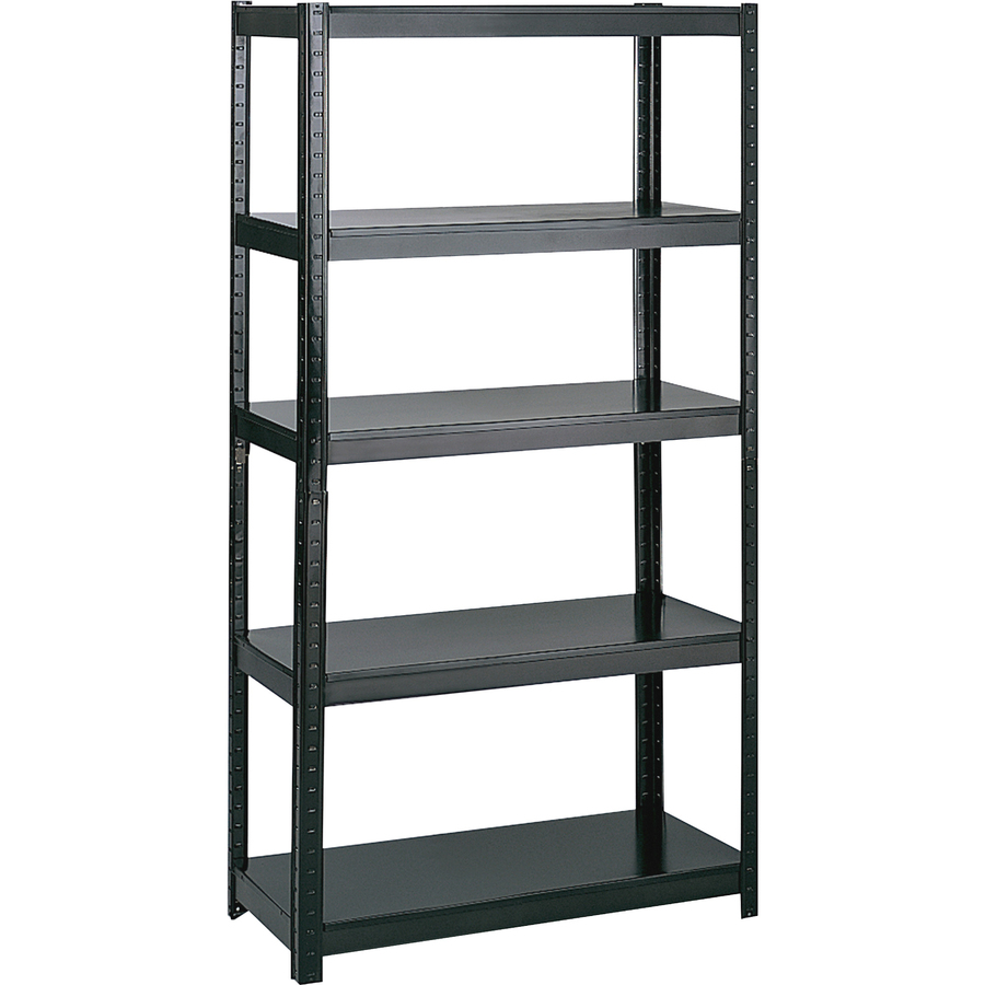 Safco Boltless Steel Shelving 36 X 18 X 72 5 X Shelf Ves 1000 Lb Load Capacity Durable Black Powder Coated Steel Assembly Required