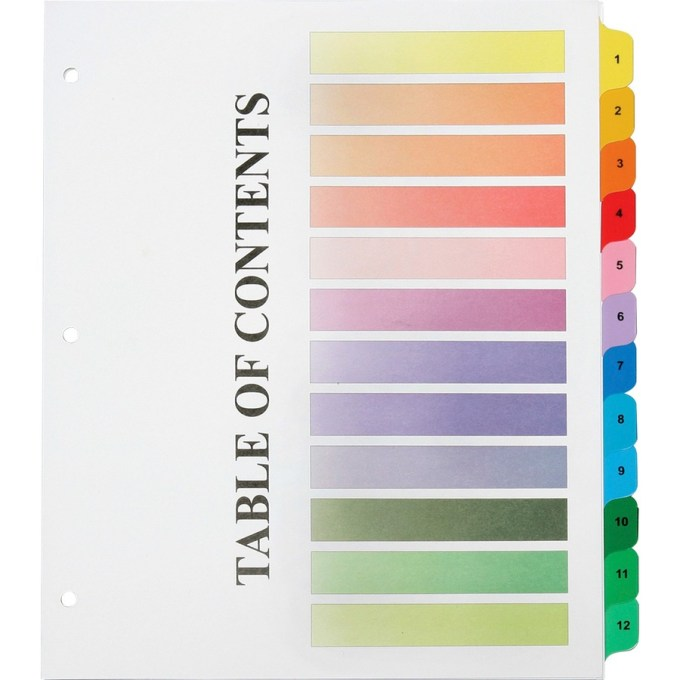 Avery 10 Tab Table Of Contents Color Template Save Template