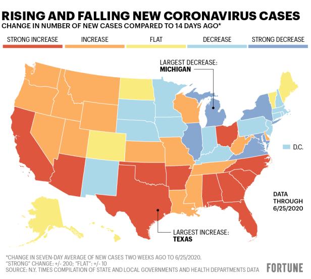 U.S. coronavirus cases map: Texas, Florida, California, Arizona, 7 others rise sharply, plus state-by-state COVID-19 breakdown | Fortune
