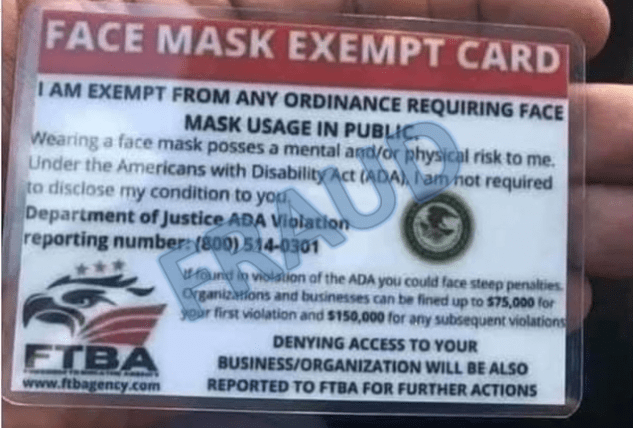face mask exempt card