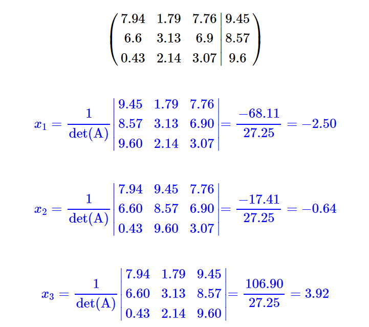 Calculadora de sistemas de ecuaciones basada en la regla de Cramer paso a paso