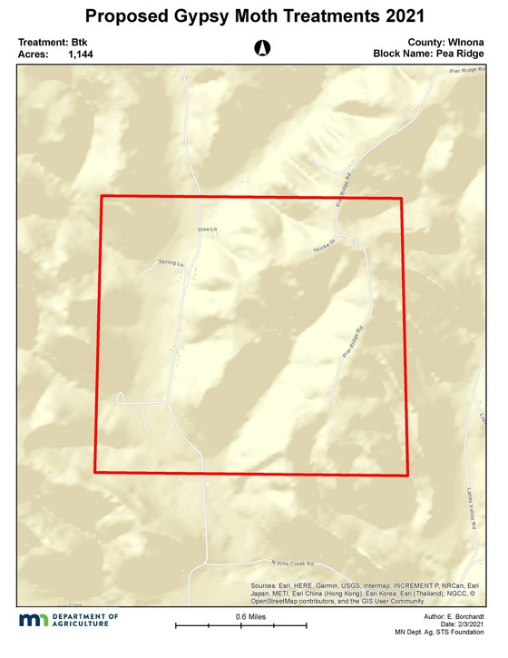 The treatment area is in New Hartford Township, Winona County. County Highway 16 and Pea Ridge Road runs through the area