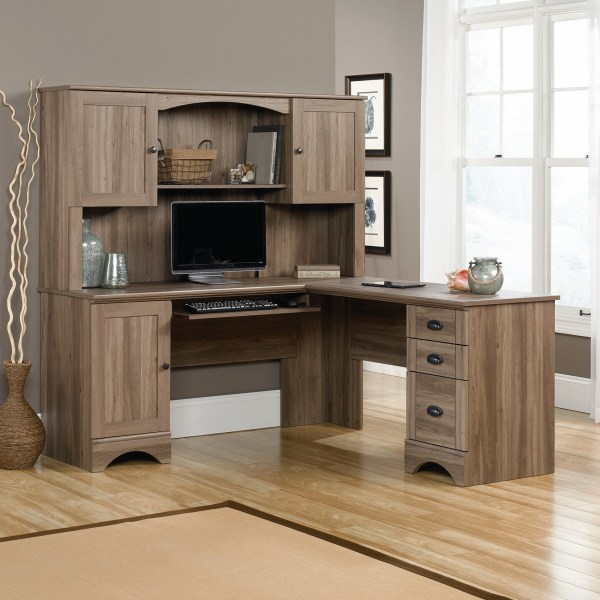 Desk with Hutch Sets   Hayneedle Sauder Harbor View L Shaped Computer Desk with Optional Hutch