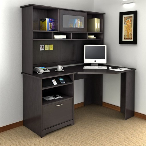 Desk with Hutch Sets   Hayneedle Bush Cabot Corner Computer Desk with Optional Hutch