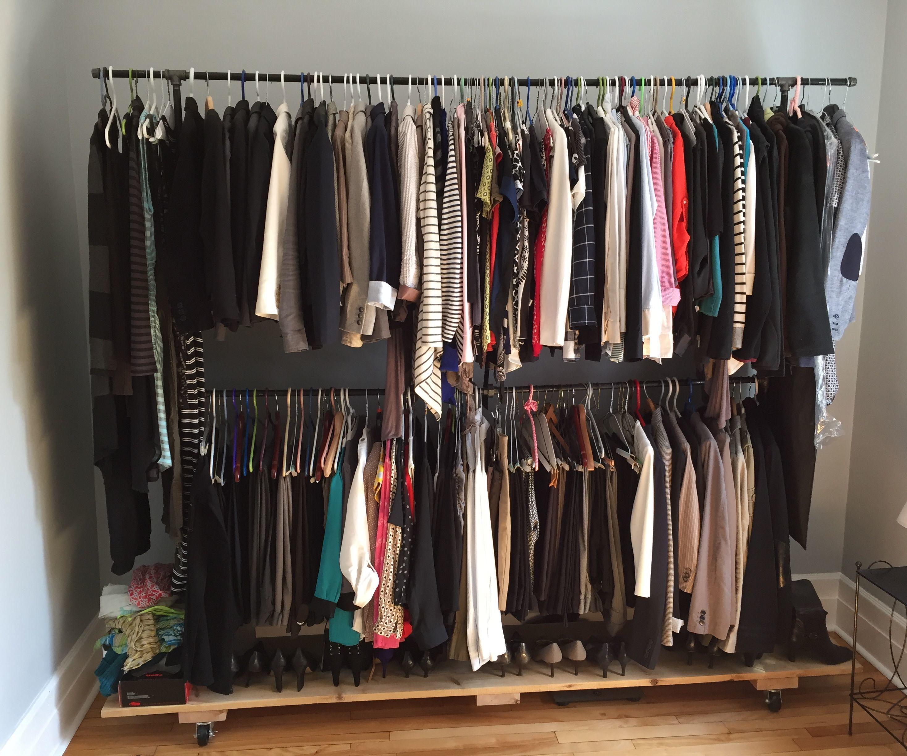 black iron pipe garment rack 5 steps