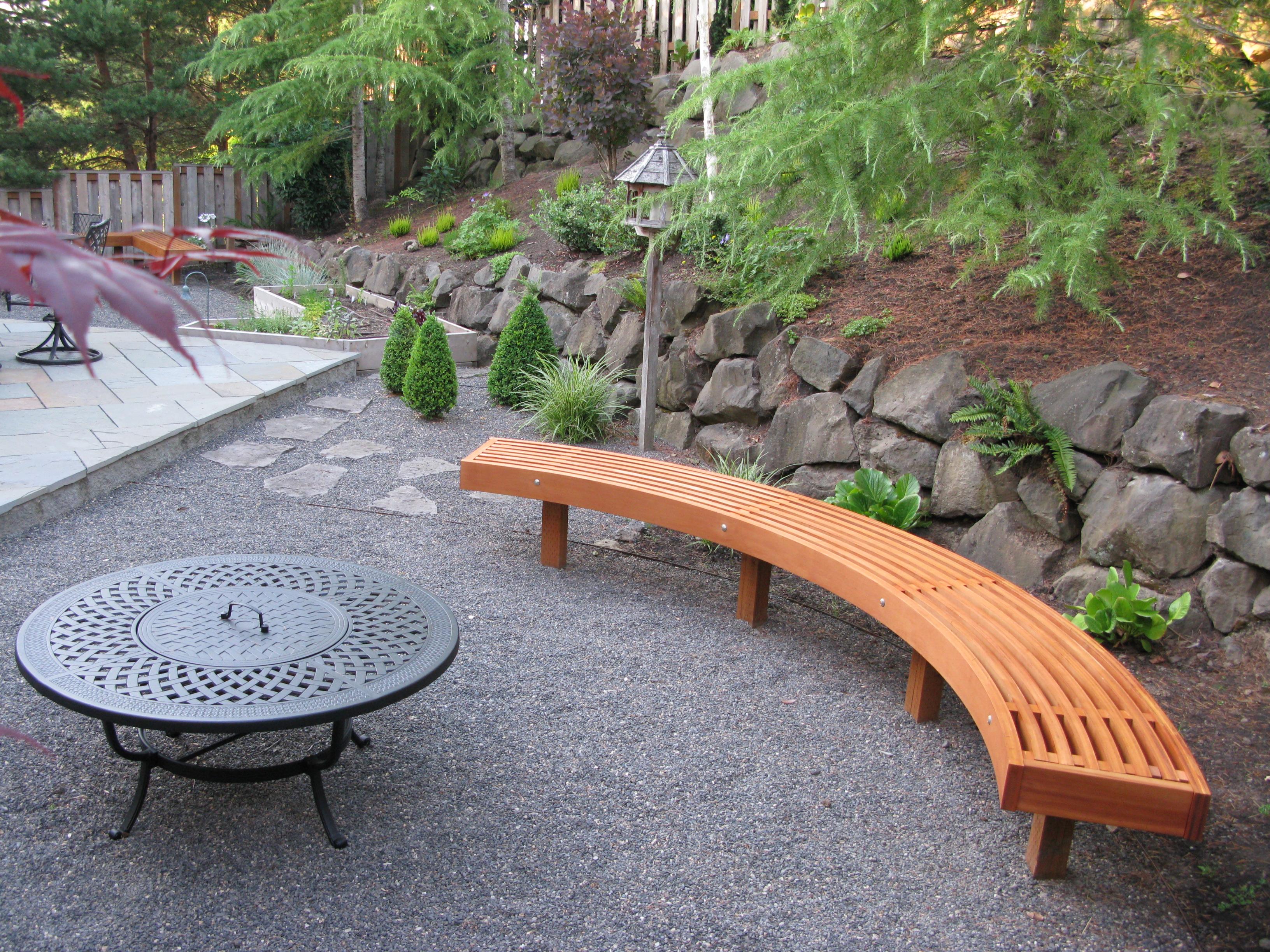 curved garden bench from cedar