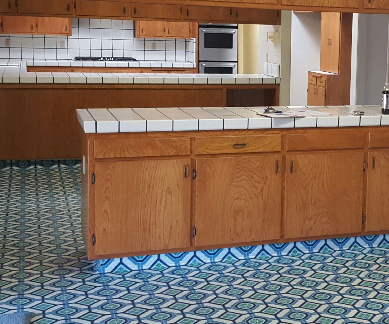 demolish old tile counter tops