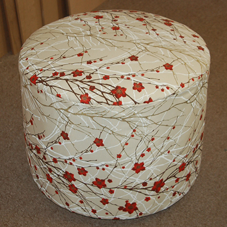 make a round upholstered ottoman with