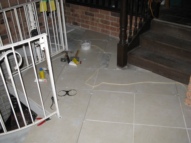 ceramic tile with an angle grinder