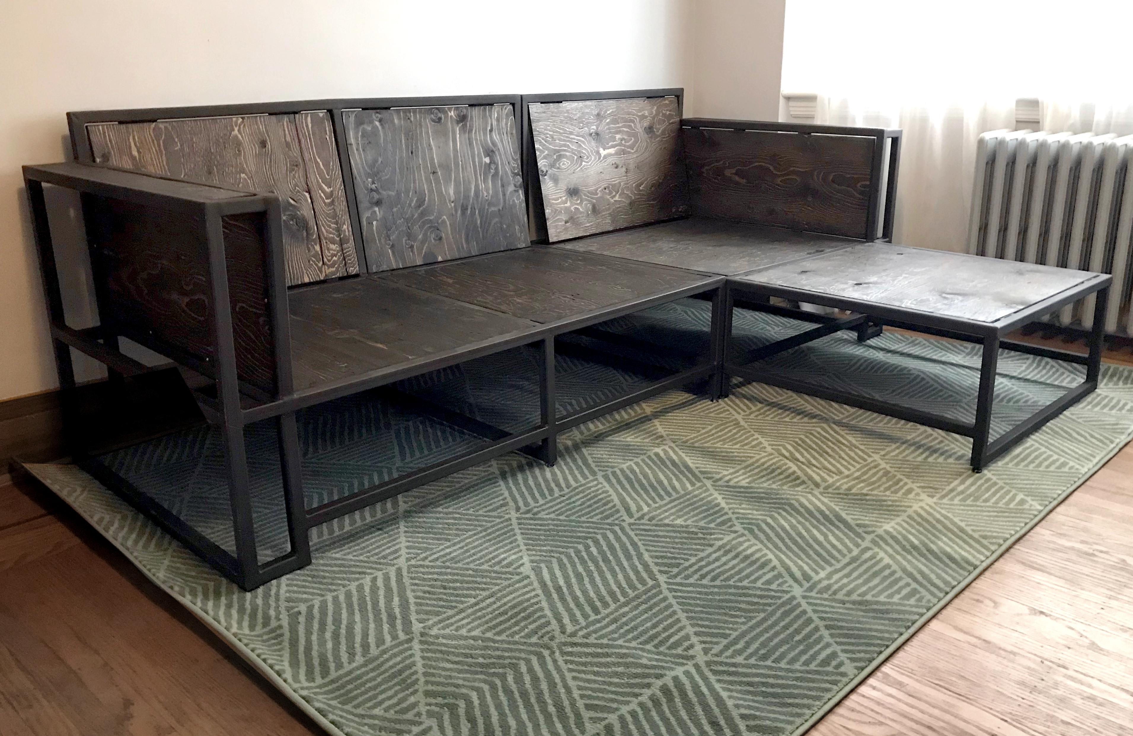 modern metal wood sectional sofa