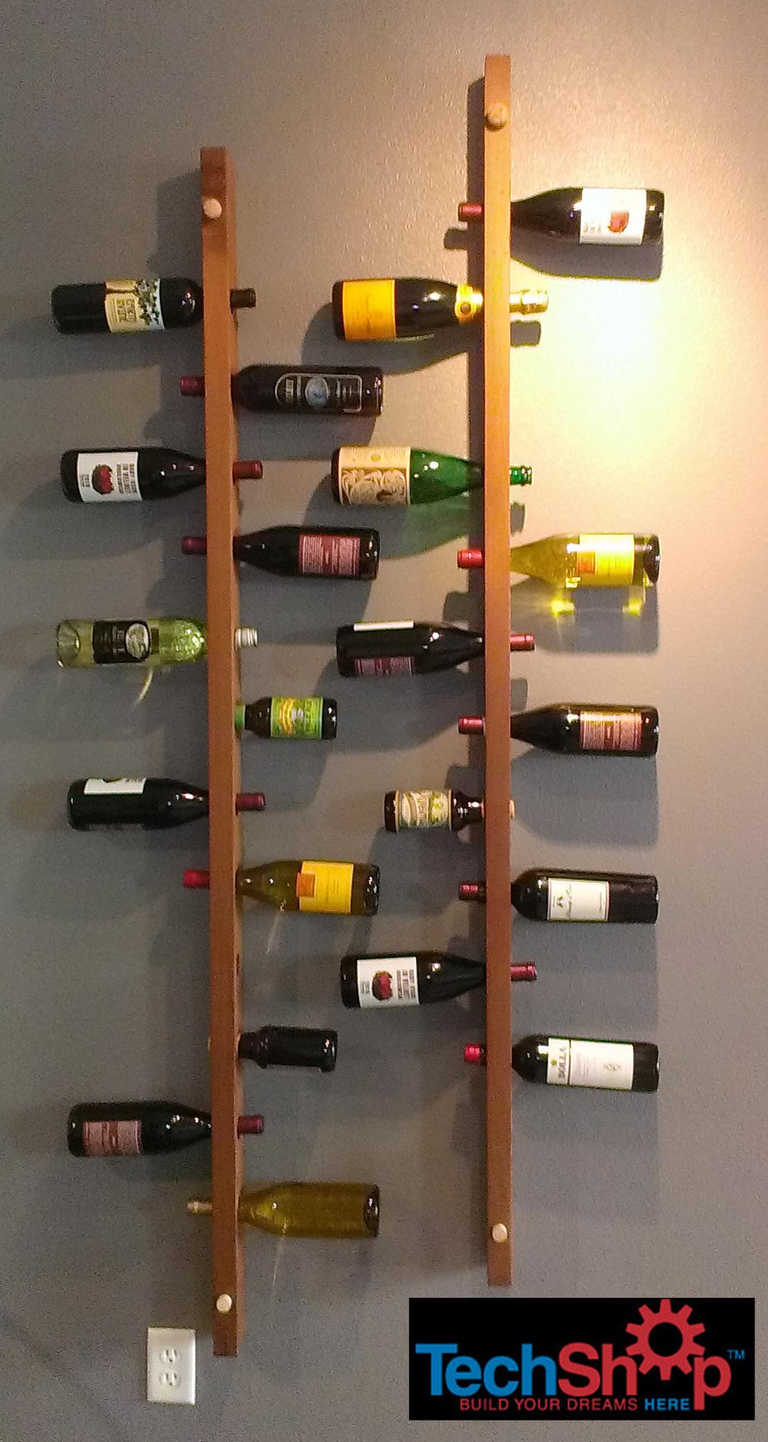 wall mounted vertical wood wine rack