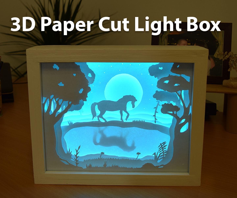 3d paper cut light box diy project