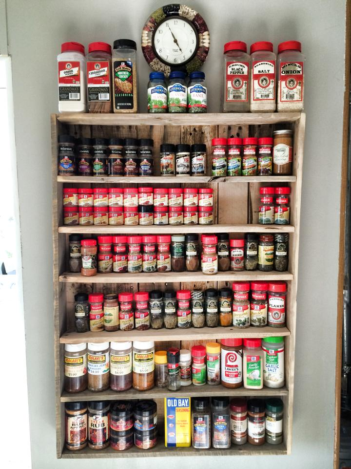 pallet spice rack 4 steps with