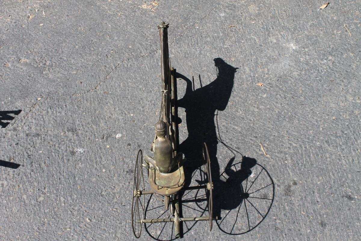 Antique Copper Jockey Horse And Sulky Weather Vane