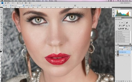 Retouching skin in Photoshop using dodge and burn