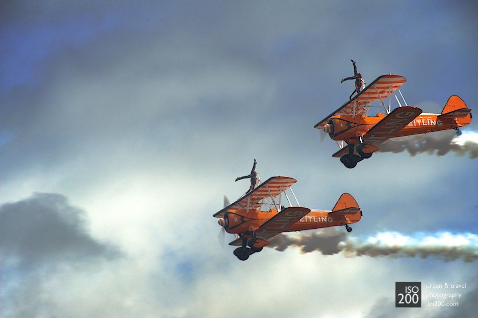 The Aerostar wing-walkers fly by at the 2011 Museum of Flight airshow, East Fortune, Scotland.