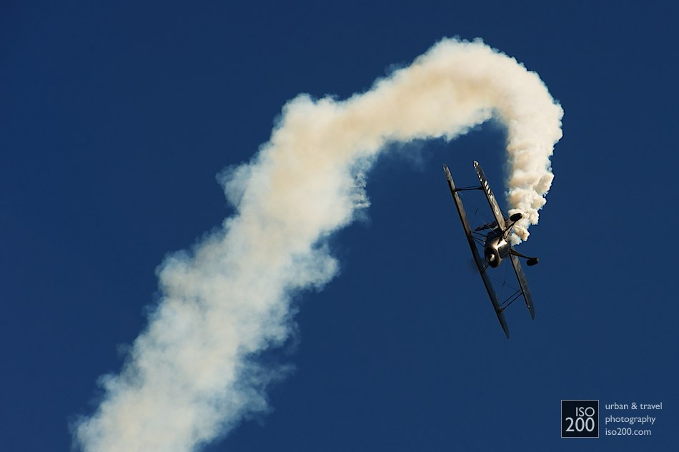 Stolp Starduster Too G-JIII drops off a smoky loop at the Museum of Flight airshow at East Fortune, July 2011.