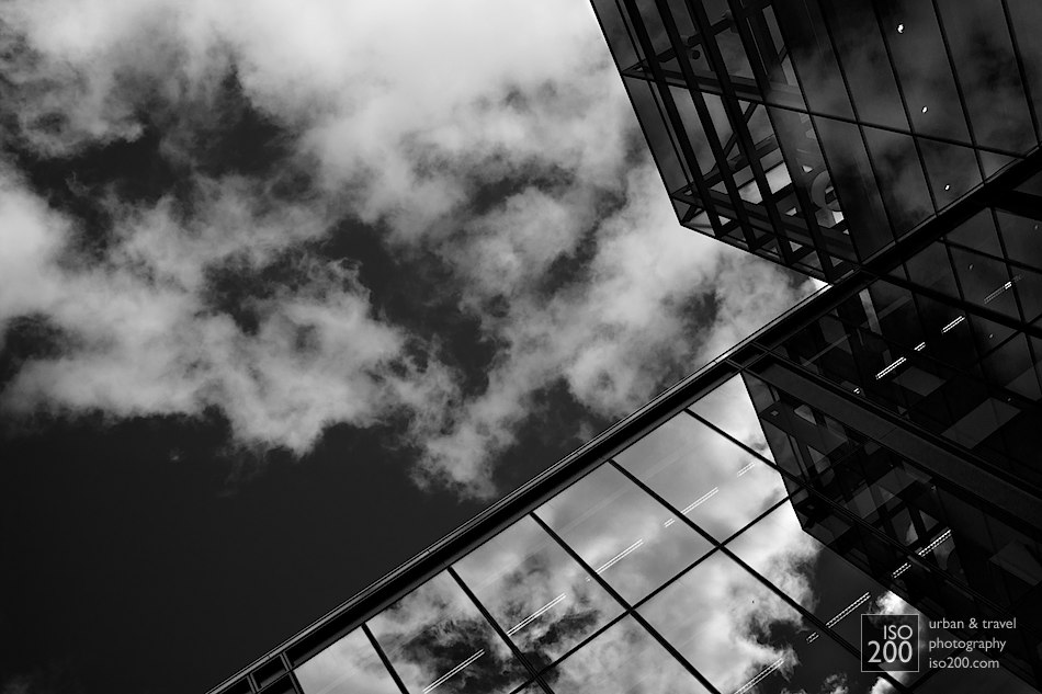 Clouds reflected in the windows of one of the new (and empty) office buildings that are part of the Quartermile development in Edinburgh on the site of the old Royal Infirmary of Edinburgh, just north of the Meadows. Designed by Foster and Partners, it is an interesting and mostly successful juxtaposition of old (i.e. late Victorian) and glass-fronted high-modernist architecture.