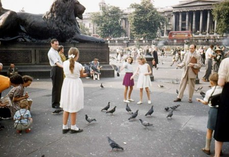 Colour photographs of Trafalgar Square in the 1950s
