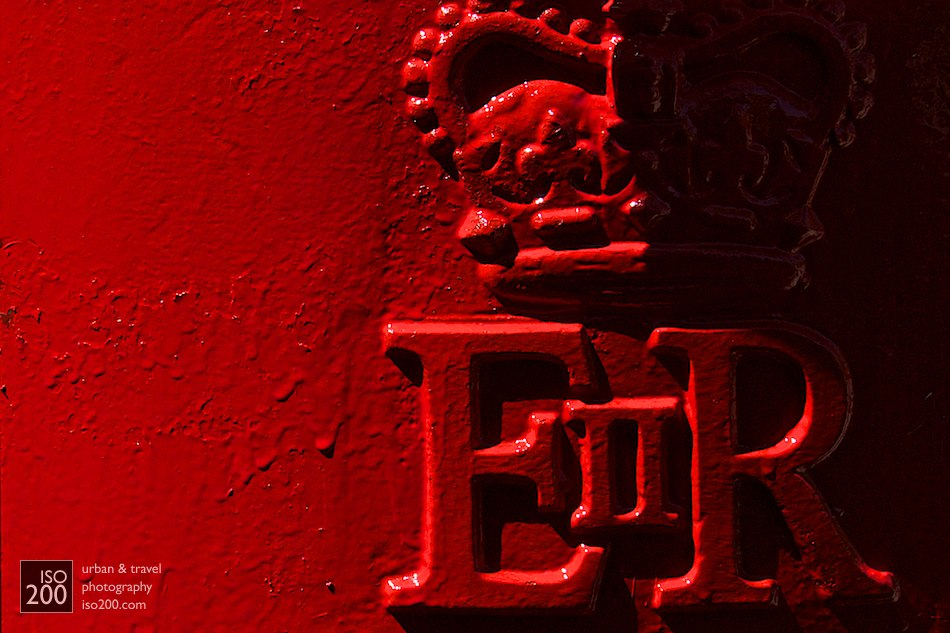 Detail of a freshly painted post box, University of Warwick, Coventry, England. The paint was still wet when I took this - the photo is (aside from a minor rotate and crop) straight out of the camera.