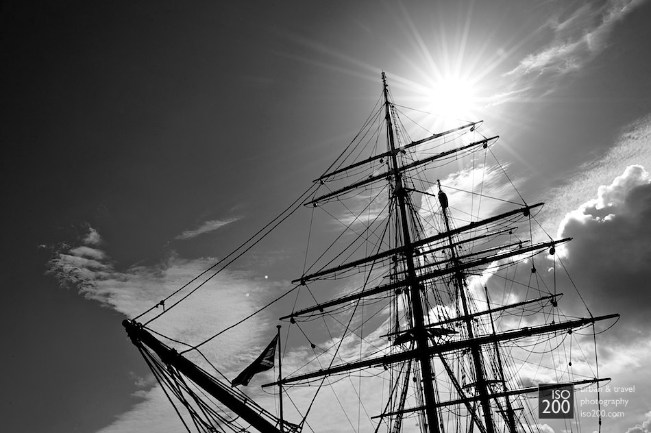 The RRS Discovery in Dundee. The Discovery is believed to be the last 'traditional' wooden three-masted ship to be built in Britain although her peculiar design, construction and rigging actually make her one of the strangest square riggers every built.