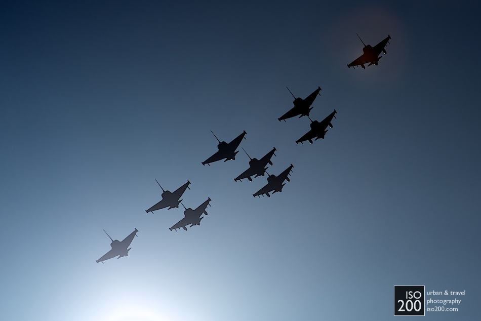 9 Eurofighers in a diamond formation flypast at the end of the 2012 Diamond Jubilee Airshow at RAF Leuchars, Fife.