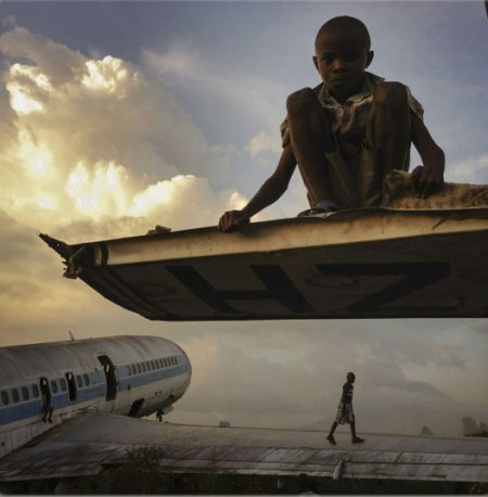 In pictures: aircraft graveyards repurposed by Congo's lost children