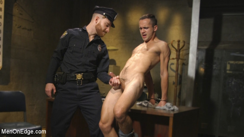 Officer Keys torments sexy cock convict - rope bondage