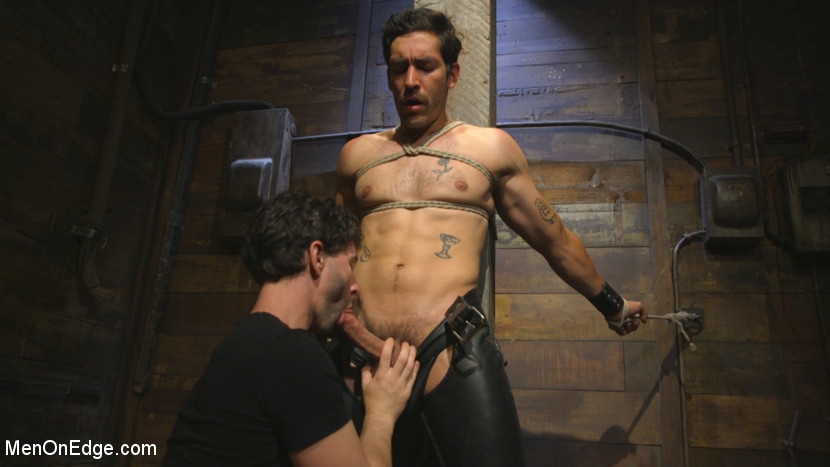 Hot leather stud with a fat cock gets edged - leather