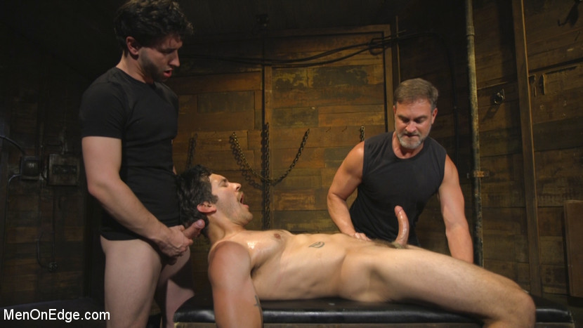 Hot leather stud with a fat cock gets edged - oral sex