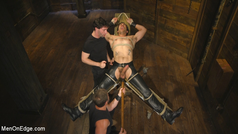 Hot leather stud with a fat cock gets edged - Male Sub