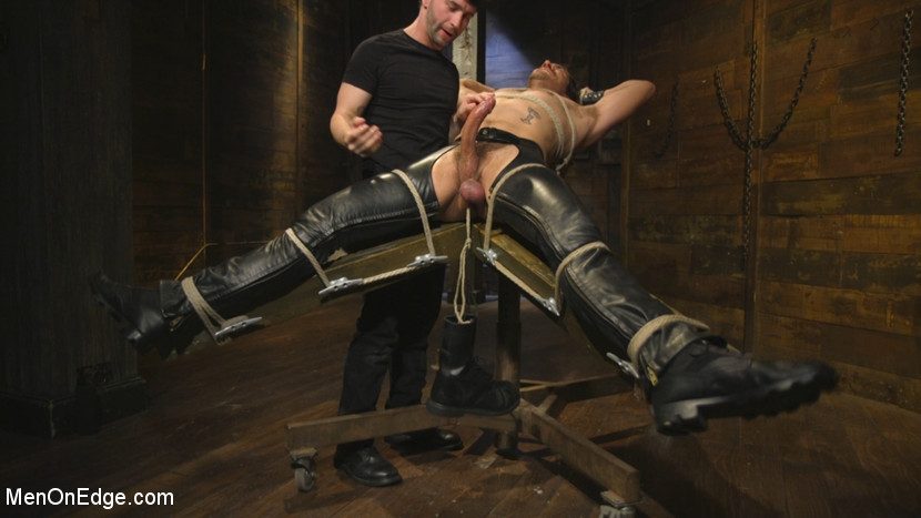Hot leather stud with a fat cock gets edged - dildo