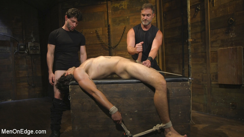 Hot leather stud with a fat cock gets edged - Edging