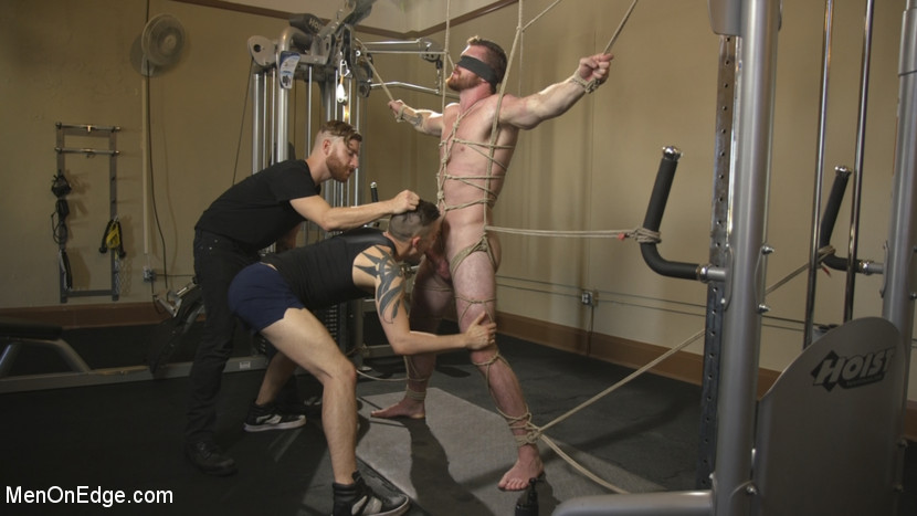Ginger Muscle God Tormented and Edged in Bondage - tickling