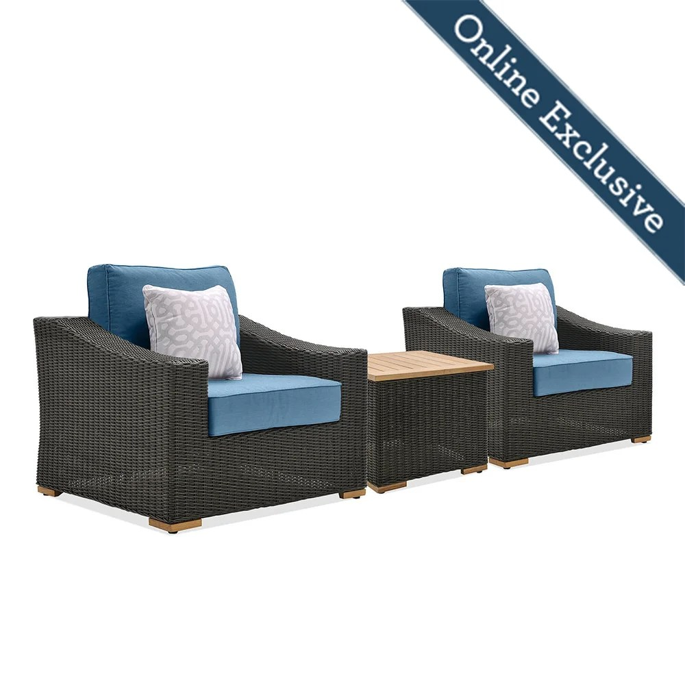 new boston 3pc wicker patio conversation set w blue cushion