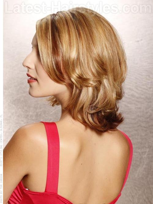 Medium Blonde Bob with a Flip - Side View