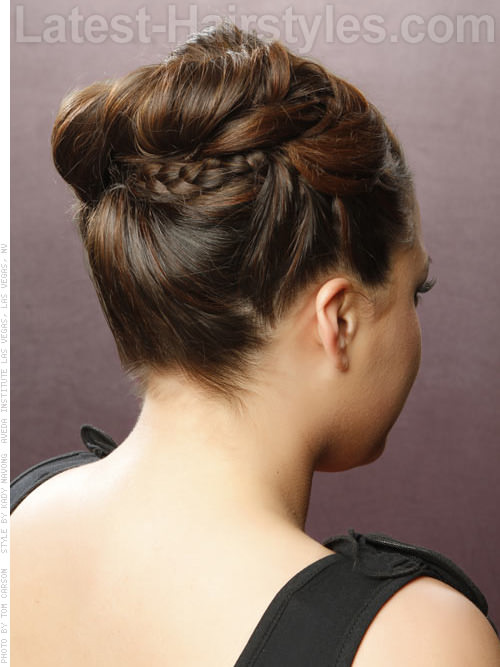 Princess Upsweep Delicate Braided Hairstyle for Prom with Braids - Back View