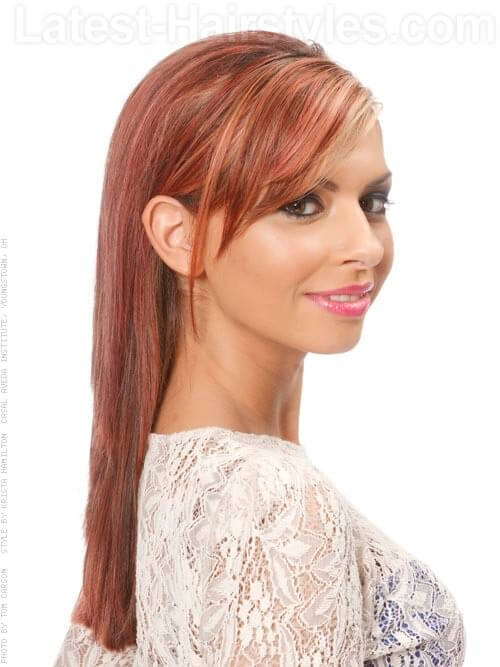 Strawberry Blonde Side View Highlighted Hair