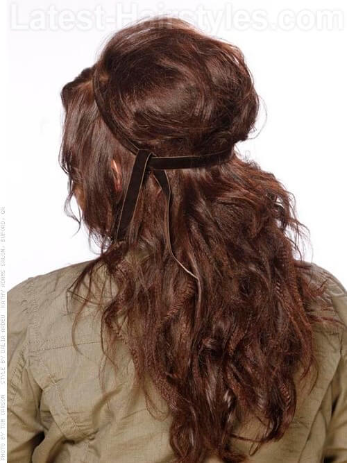 Modern Bouffant Full Wavy Party Hairstyle Back View