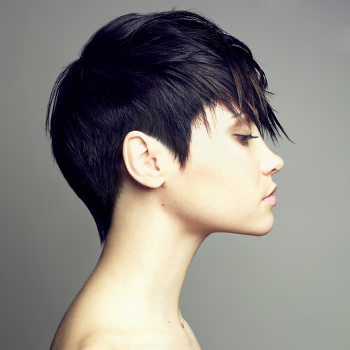 Short Haircut with Curved Shapes and Shattered Finish