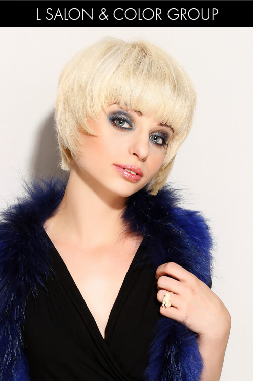 Short Platinum Hairstyle with Bangs